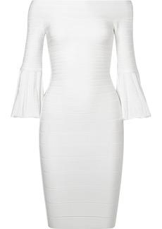 Herve Leger Off-the-shoulder bandage mini dress