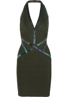 Herve Leger Sequin-embellished Halterneck Bandage Mini Dress