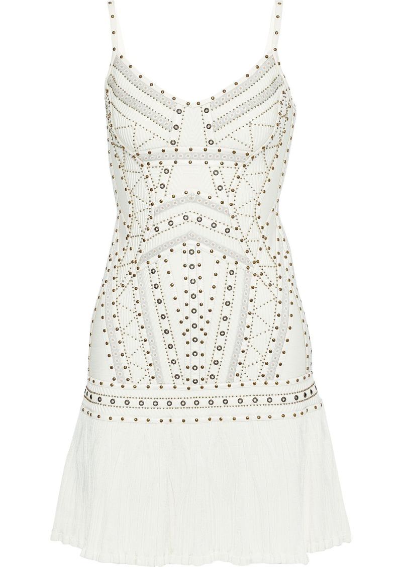Herve Leger Hervé Léger Woman Adeline Embellished Bandage And Ribbed-knit Mini Dress Off-white