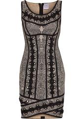 Herve Leger Hervé Léger Woman Agnese Lace-up Jacquard-knit Bandage Mini Dress Black