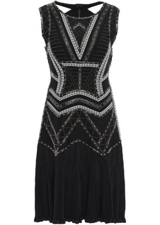 Herve Leger Hervé Léger Woman Alexia Cutout Embellished Bandage And Ribbed-knit Mini Dress Black