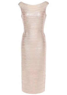 Herve Leger Hervé Léger Woman Ardell Open-back Metallic Bandage Dress Rose Gold