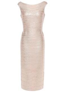 Herve Leger Hervé Léger Woman Ardell Open-back Metallic Bandage Dress Rose Gold