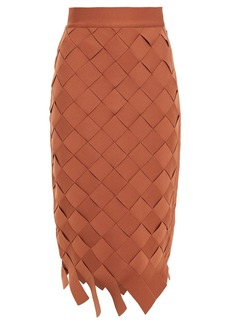Herve Leger Hervé Léger Woman Basketweave Bandage Midi Skirt Light Brown