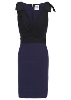 Herve Leger Hervé Léger Woman Bow-embellished Tulle And Bandage Mini Dress Navy