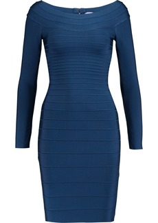 Herve Leger Hervé Léger Woman Candice Off-the-shoulder Bandage Mini Dress Navy