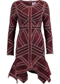 Herve Leger Hervé Léger Woman Carlotta Paneled Asymmetric Bandage Mini Dress Burgundy
