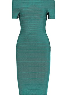 Herve Leger Hervé Léger Woman Carmen Off-the-shoulder Bandage Dress Emerald