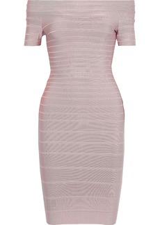 Herve Leger Hervé Léger Woman Carmen Off-the-shoulder Bandage Dress Pastel Pink