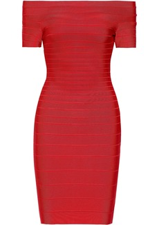 Herve Leger Hervé Léger Woman Carmen Off-the-shoulder Bandage Dress Tomato Red