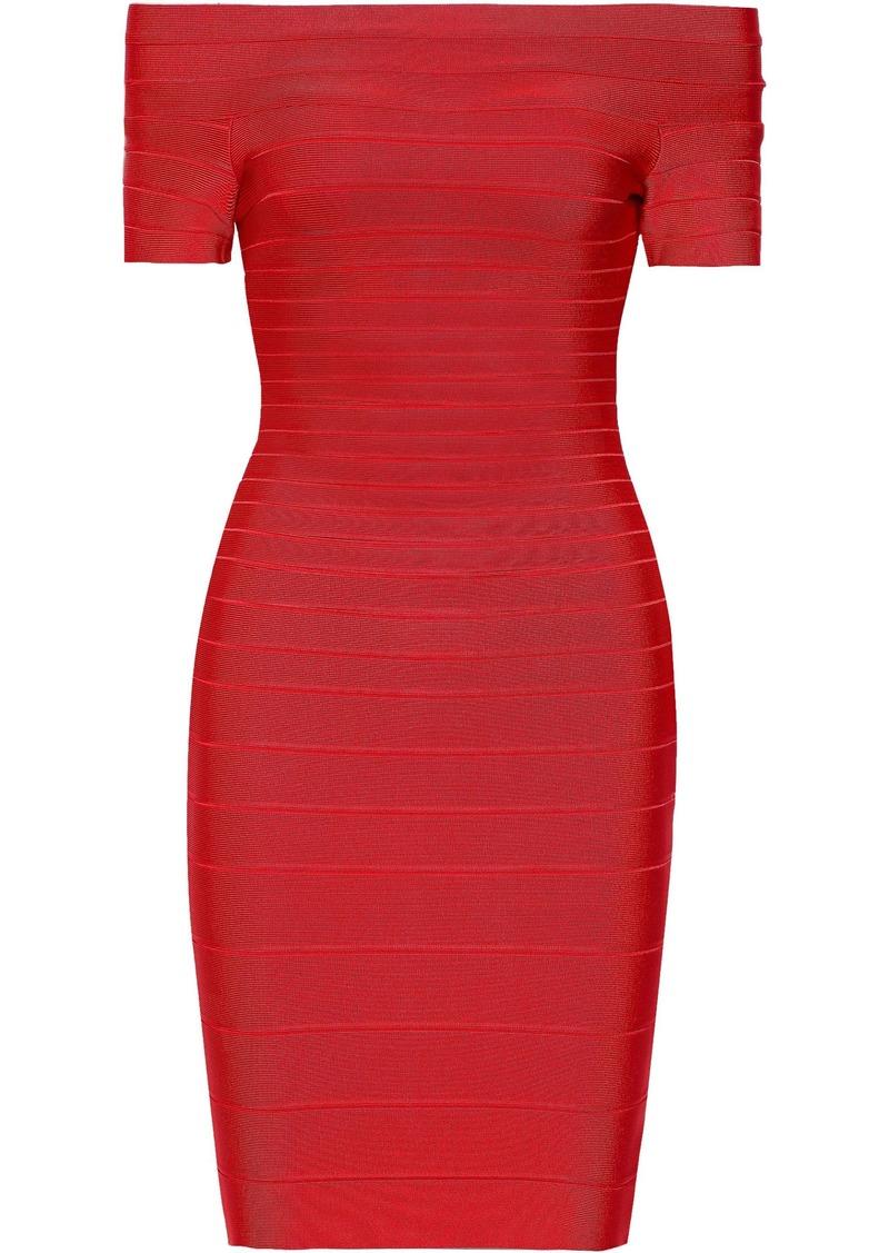 Herve Leger Hervé Léger Woman Carmen Off-the-shoulder Bandage Dress Tomato Red