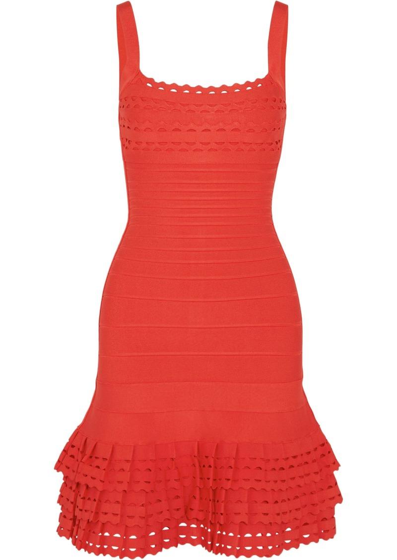 Herve Leger Hervé Léger Woman Cassidy Tiered Laser-cut Bandage Mini Dress Tomato Red