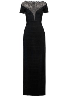 Herve Leger Hervé Léger Woman Chantilly Lace-paneled Bandage Gown Black