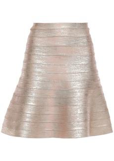Herve Leger Hervé Léger Woman Coated Bandage Mini Skirt Pastel Pink