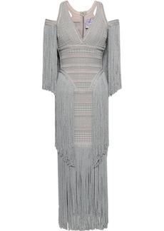 Herve Leger Hervé Léger Woman Cold-shoulder Fringed Metallic Jacquard-knit Midi Dress Silver
