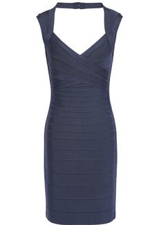Herve Leger Hervé Léger Woman Crisscross Cutout Bandage Mini Dress Indigo