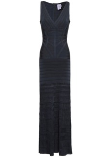Herve Leger Hervé Léger Woman Zelina Pointelle-paneled Bandage Maxi Dress Midnight Blue
