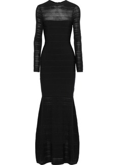 Herve Leger Hervé Léger Woman Crochet Knit-paneled Bandage Gown Black