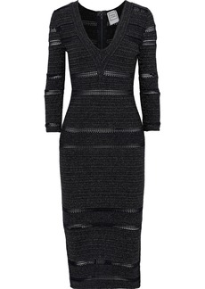 Herve Leger Hervé Léger Woman Crochet-trimmed Metallic Stretch-knit Dress Midnight Blue