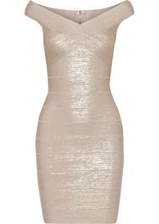 Herve Leger Hervé Léger Woman Crossover Metallic Bandage Mini Dress Pastel Pink
