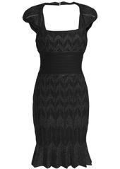 Herve Leger Hervé Léger Woman Cutout Bandage-paneled Metallic Jacquard-knit Mini Dress Black