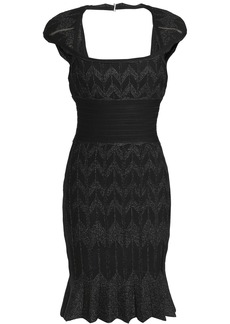 Herve Leger Hervé Léger Woman Cutout Bandage-paneled Metallic Jacquard-knit Mini Dress Black