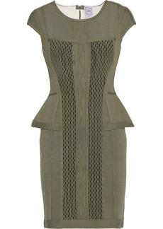 Herve Leger Hervé Léger Woman Cutout Mesh-paneled Pointelle-knit Peplum Mini Dress Army Green