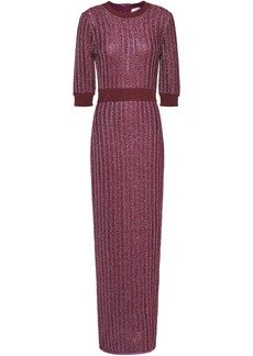 Herve Leger Hervé Léger Woman Distressed Metallic Ribbed Crochet-knit Maxi Dress Plum