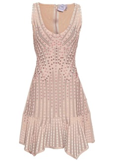 Herve Leger Hervé Léger Woman Embellished Jacquard-knit Bandage Dress Blush