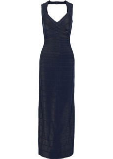 Herve Leger Hervé Léger Woman Estrella Cutout Bandage Gown Midnight Blue