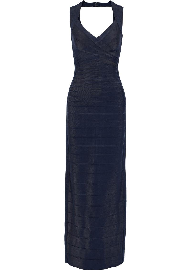 Herve Leger Hervé Léger Woman Estrella Cutout Bandage Gown Midnight Blue