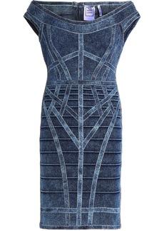 Herve Leger Hervé Léger Woman Faded Stretch-denim Mini Dress Mid Denim
