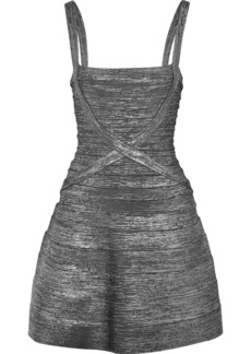 Herve Leger Hervé Léger Woman Faith Metallic Bandage Mini Dress Gunmetal