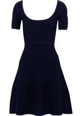 Herve Leger Hervé Léger Woman Flared Cloqué-knit Mini Dress Navy