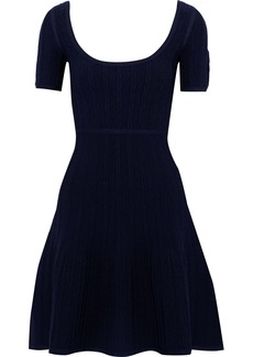Herve Leger Hervé Léger Woman Flared Cloqué-knit Mini Dress Navy
