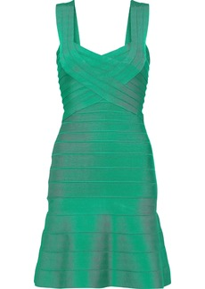Herve Leger Hervé Léger Woman Fluted Bandage Mini Dress Green