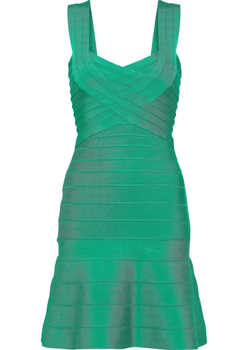Herve Leger Hervé Léger Woman Fluted Bandage Mini Dress Green