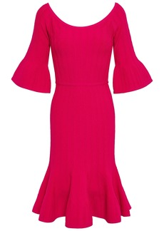 Herve Leger Hervé Léger Woman Fluted Cable-knit Dress Fuchsia