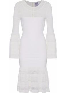Herve Leger Hervé Léger Woman Fluted Crochet Knit-paneled Bandage Dress White