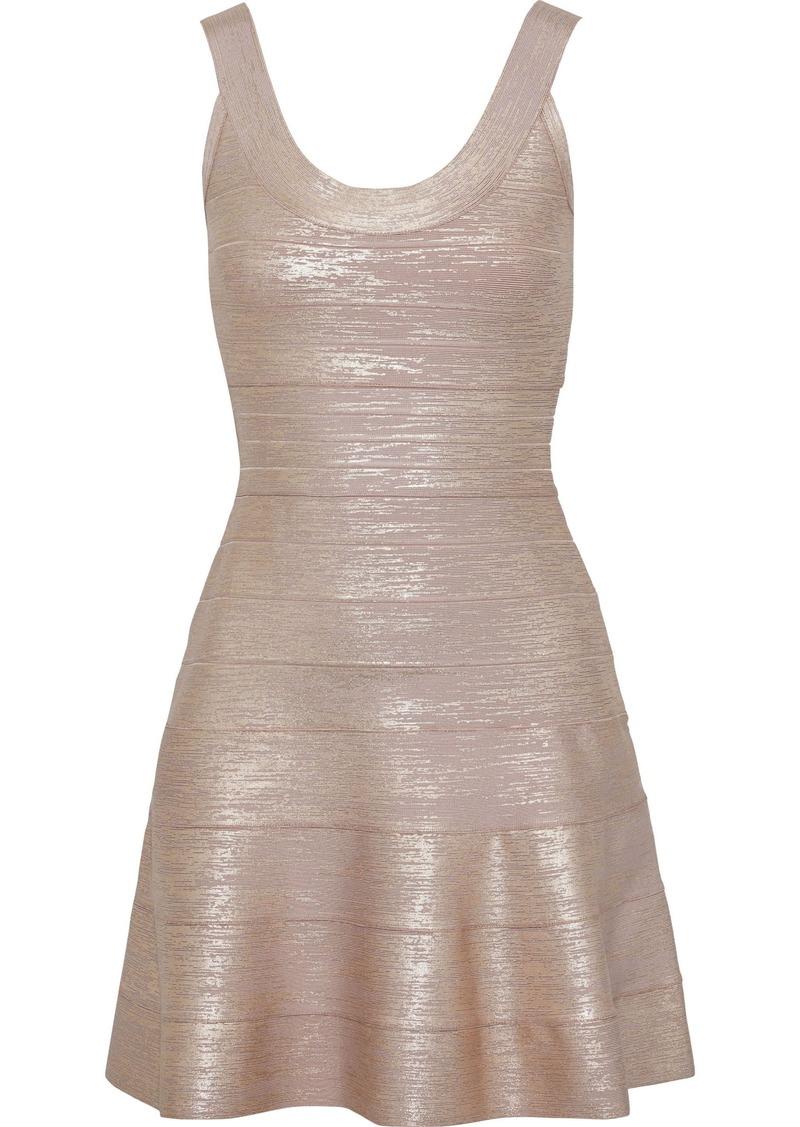 Herve Leger Hervé Léger Woman Fluted Metallic Bandage Mini Dress Rose Gold