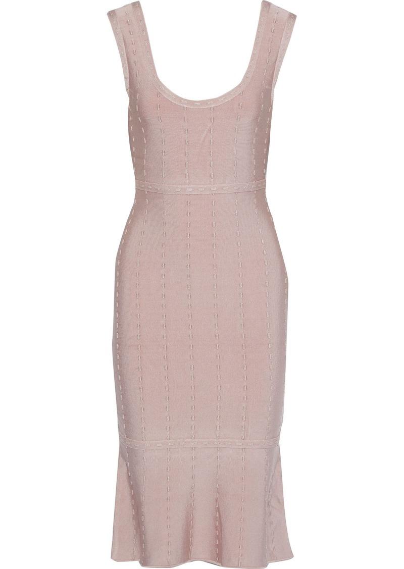 Herve Leger Hervé Léger Woman Fluted Metallic-trimmed Bandage Dress Blush