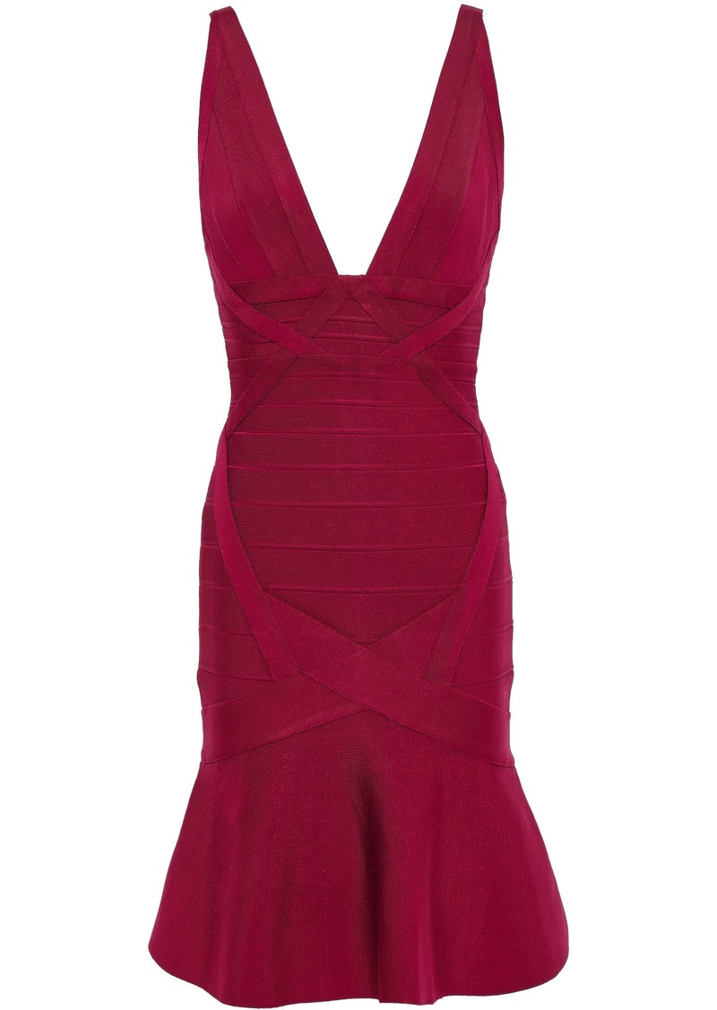 Herve Leger Hervé Léger Woman Fluted Open-back Bandage Mini Dress Crimson
