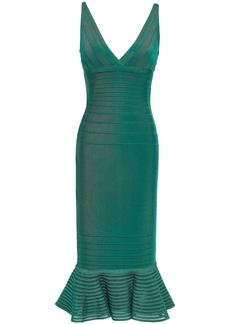 Herve Leger Hervé Léger Woman Fluted Tulle-paneled Bandage Dress Teal