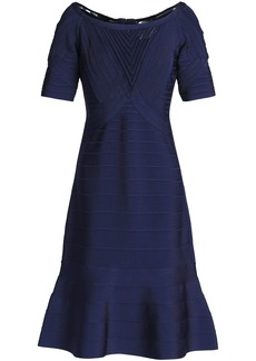 Herve Leger Hervé Léger Woman Fluted Tulle-trimmed Bandage Dress Navy