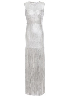 Herve Leger Hervé Léger Woman Fringed Appliquéd Metallic Tulle Gown Silver