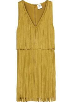 Herve Leger Hervé Léger Woman Fringed Bandage Mini Dress Mustard