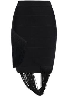 Herve Leger Hervé Léger Woman Fringed Bandage Mini Skirt Black