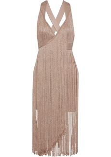 Herve Leger Hervé Léger Woman Fringed Metallic Bandage Midi Dress Blush