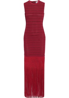 Herve Leger Hervé Léger Woman Fringed Metallic Crochet-knit Maxi Dress Crimson