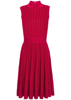 Herve Leger Hervé Léger Woman Gathered Pointelle-knit Dress Tomato Red